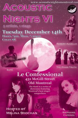 Acoustic Nights 6, hosted by Melina Soochan - 5 artists, 1 stage - December 14 2010. Poster  designed by Mehdi Cee.